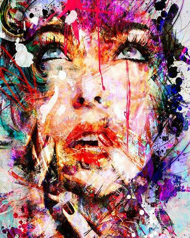 Картина раскраска по номерам 40x50 Разноцветная девушка с красными губами