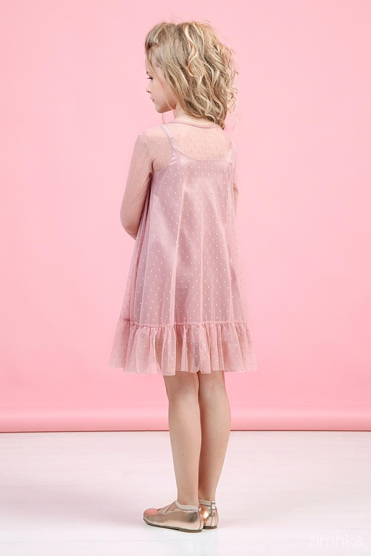 Платье пудровое для девочки 38-9007-5