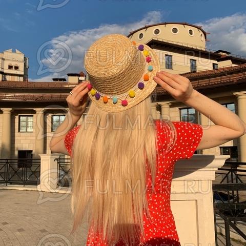 Оригинальная шляпа соломенная женская узкие поля с декором бубенчики