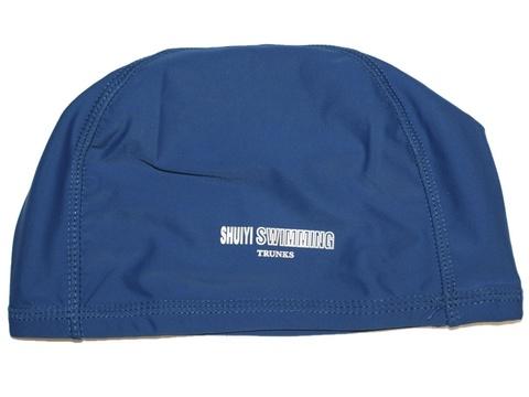Шапочка для плавания тканевая. Безразмерная, взрослая. Вставка эргономично придает форму шапочке. Сочетание полиамида и эластомера делает ткань эластичной и прочной одновременно. Полиэтиленовая упаковка. AL-1117-ц  (Синий)