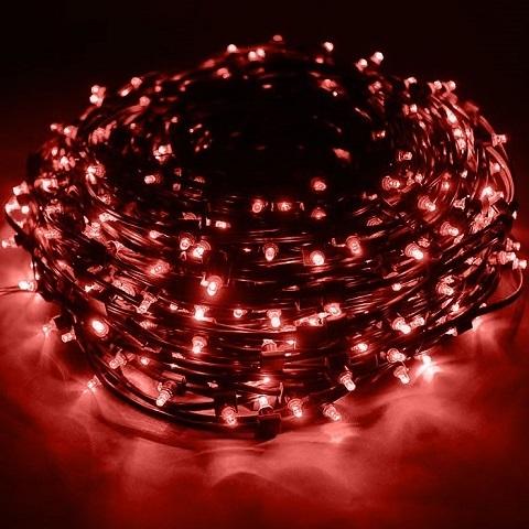 Светодиодный клип лайт Красный, 12V, без колпачка, шаг диодов 150мм, провод темный, бухта 100 метров, без трансформатора.