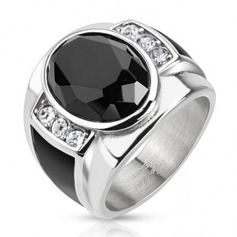 Перстень мужской из стали цельнолитой с ониксом и цирконами SPIKES R-H5590