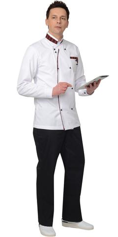 Китель мужской белый с отделкой черно-красная полоска