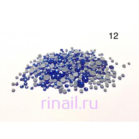 Стразы разно размерные 360 штук, №12 синие