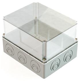 Распаячная коробка ОП 240х195х165мм, проз. крышка, IP55, кабельные ввода d28-3 шт., d37-2 шт., TDM