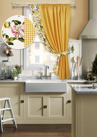 Готовая хлопковая штора для кухни Кимберли с подхватом