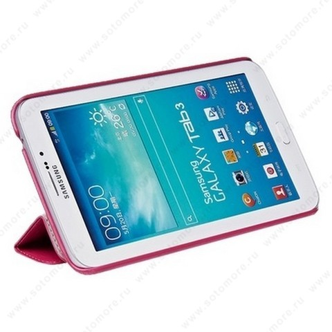 Чехол-книжка HOCO для Samsung Galaxy Tab 3 7.0 SM-T2100/ SM-T2110 - HOCO Crystal series Leather Case Rose red