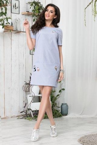 Короткое летнее платье с апликацией, в синюю полоску 1