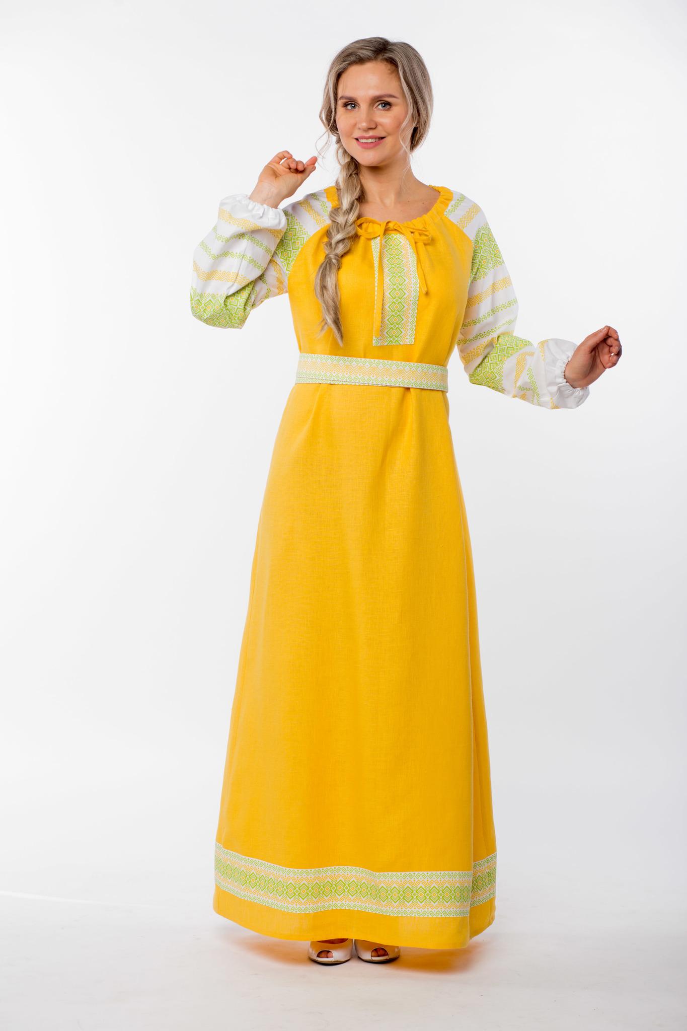 Платье льняное Ясно солнышко полный рост