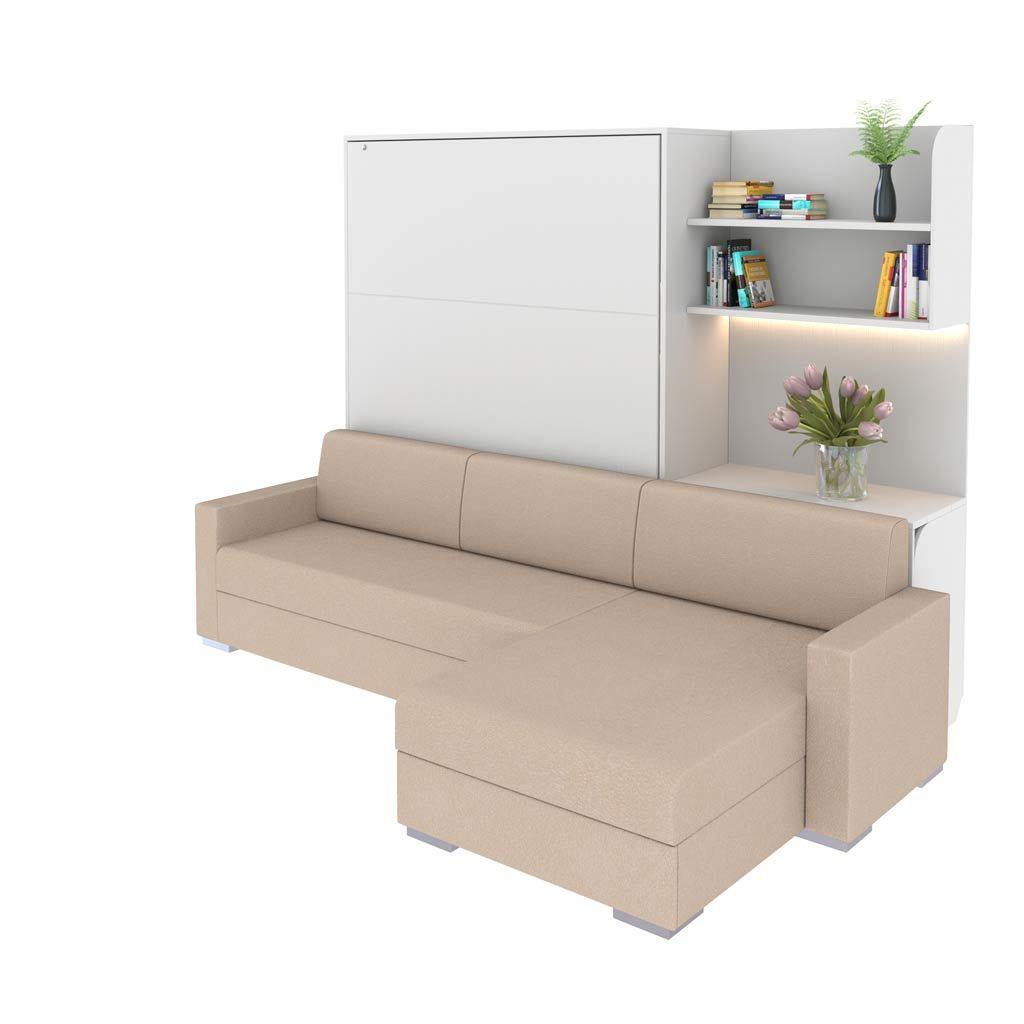 Шкаф-кровать вертикальная с угловым диваном Виктория