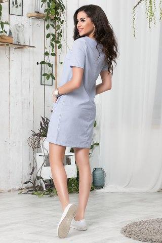 Короткое летнее платье с апликацией, в синюю полоску 2