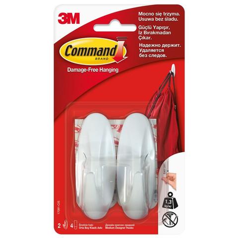 Крючки средние Command белые нагрузка до 1.35 кг (2 штуки + 4 клейких полоски)