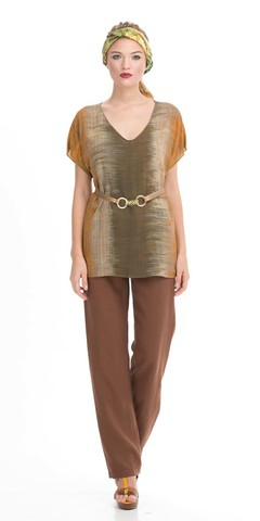 Фото цельнокроеная блуза с короткими рукавами и v-образным вырезом - Блуза Г504-563 (1)