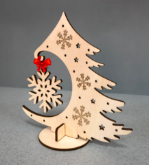 Новогодняя ёлочка со снежинкой от Lemmo. 3D пазл, деревянный конструктор, сборная модель