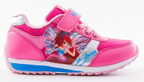 Кроссовки Винкс (Winx) на липучке и шнурках для девочек, цвет розовый, фея Блум. Изображение 1 из 8.