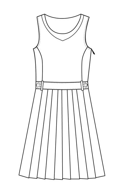 Выкройка сарафана для девочки, юбка в складку перед