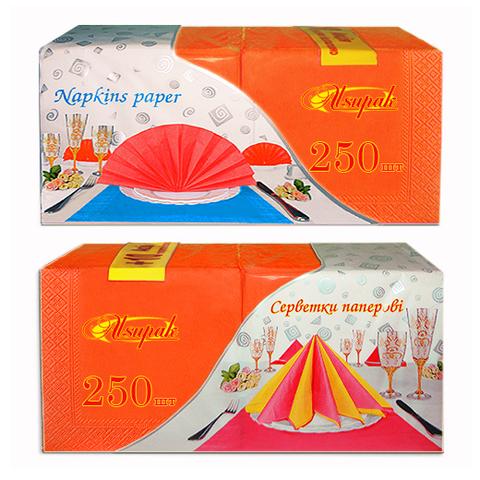 Салфетки 33х33 см оранжевые интенсив двухслойные 250 шт.