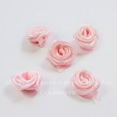 Роза атласная розовая 15 мм, 5 штук