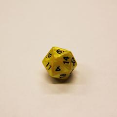Куб D20 мраморный: Желтый