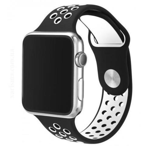 Ремешок Apple watch 42/44mm Sport Nike /black white/ черный белый