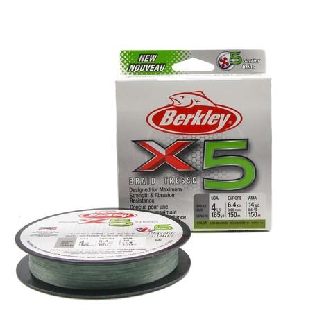 Плетеная леска Berkley X5 150м Темно-зеленая 0,06мм 1,8кг