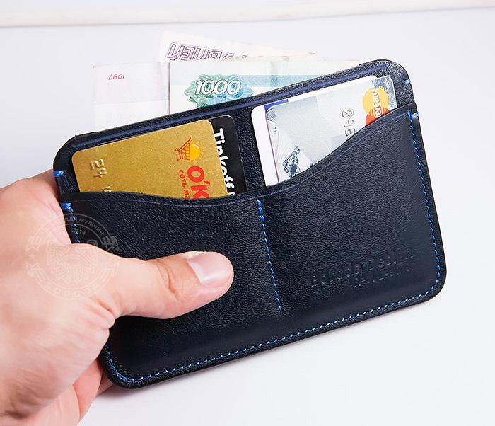 BC122-3 Кожаная обложка синего цвета для документов и карт ручной работы, «Boroda Design» фото 08