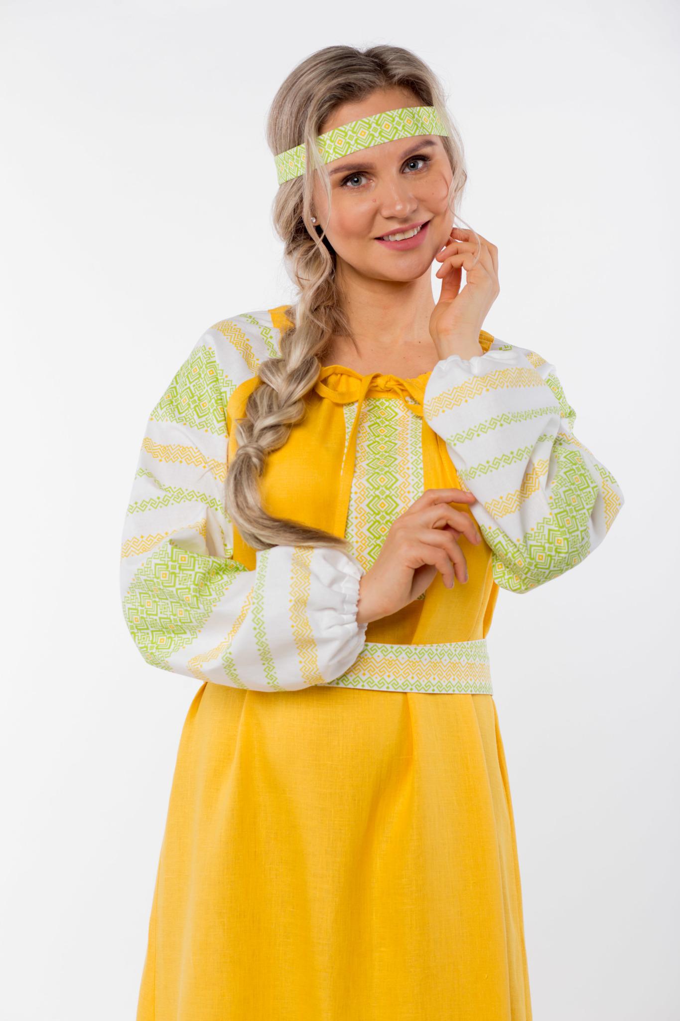 Платье льняное Ясно солнышко с очельем