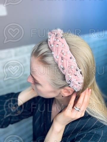 Широкий бархатный ободок для волос на голову с искусственным жемчугом Розовый