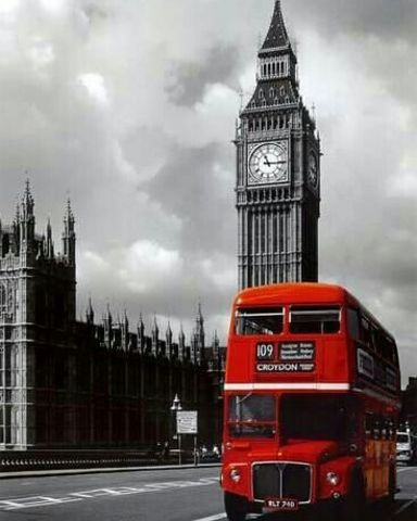 Картина раскраска по номерам 50x65 Красный автобус и Биг-Бен