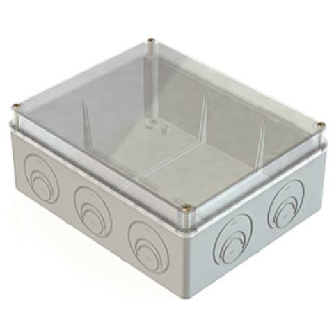 Распаячная коробка ОП 240х195х90мм, пр. крышка, IP55, мон. плата, каб. ввод. d28-3шт., d37-2шт., TDM