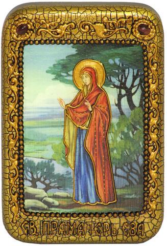 Инкрустированная икона Святая праматерь Ева 15х10см на натуральном дереве, в подарочной коробке