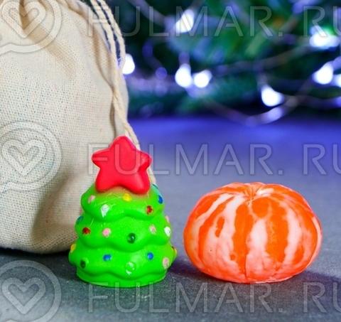 Новогодний набор мыла в мешочке: ёлочка и мандарин 125 г, 16 см × 12 см × 4,5 см