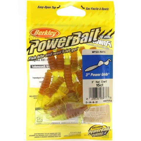 Приманка силиконовая Berkley Powerbait Power Grub MPG3-NATC Natural Chartreuse 3