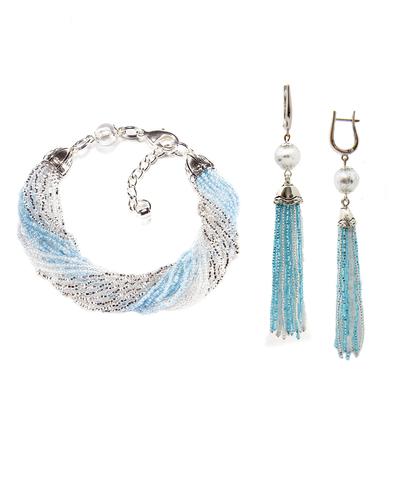 Комплект украшений из бисера серебристо-голубой (серьги из бисера, бисерный браслет)