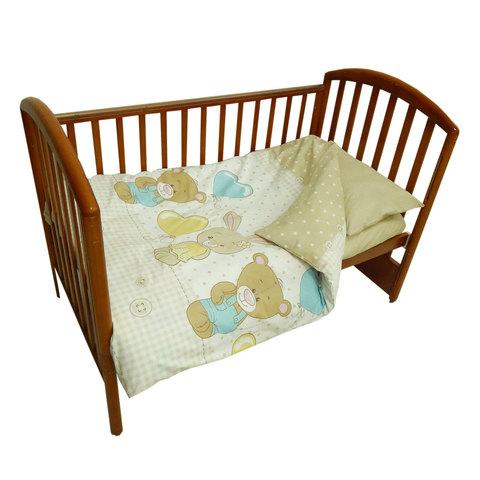 Папитто. Комплект постельного белья с простыней на резинке Игрушки из перкаля, бежевый
