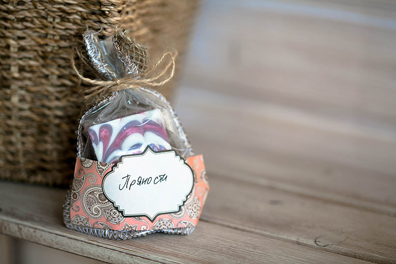 Этиклейка на упаковку для мыла Пейсли Беж