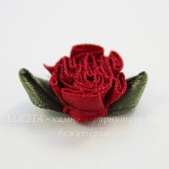 Цветочек с листиком бордовый 28 мм
