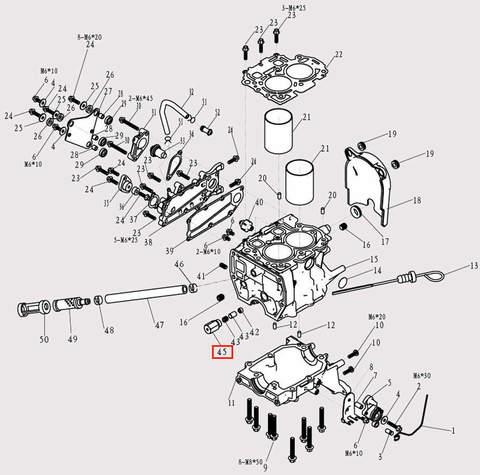 Корпус клапана перепускного для лодочного мотора F9.8 Sea-PRO (3-45)