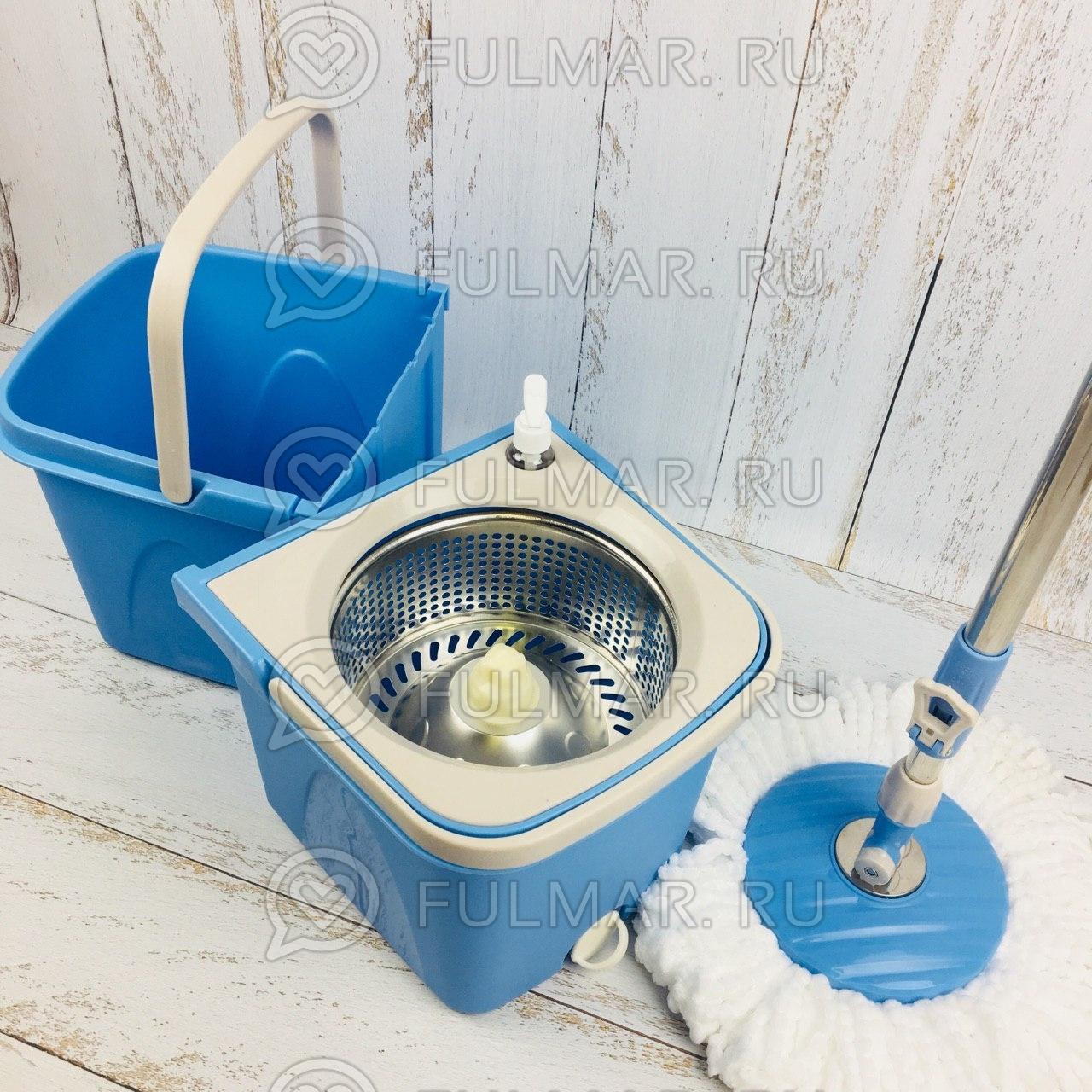 Швабра и двойное ведро для отжима и полоскания Split Bucket Spin Mop Голубой фото