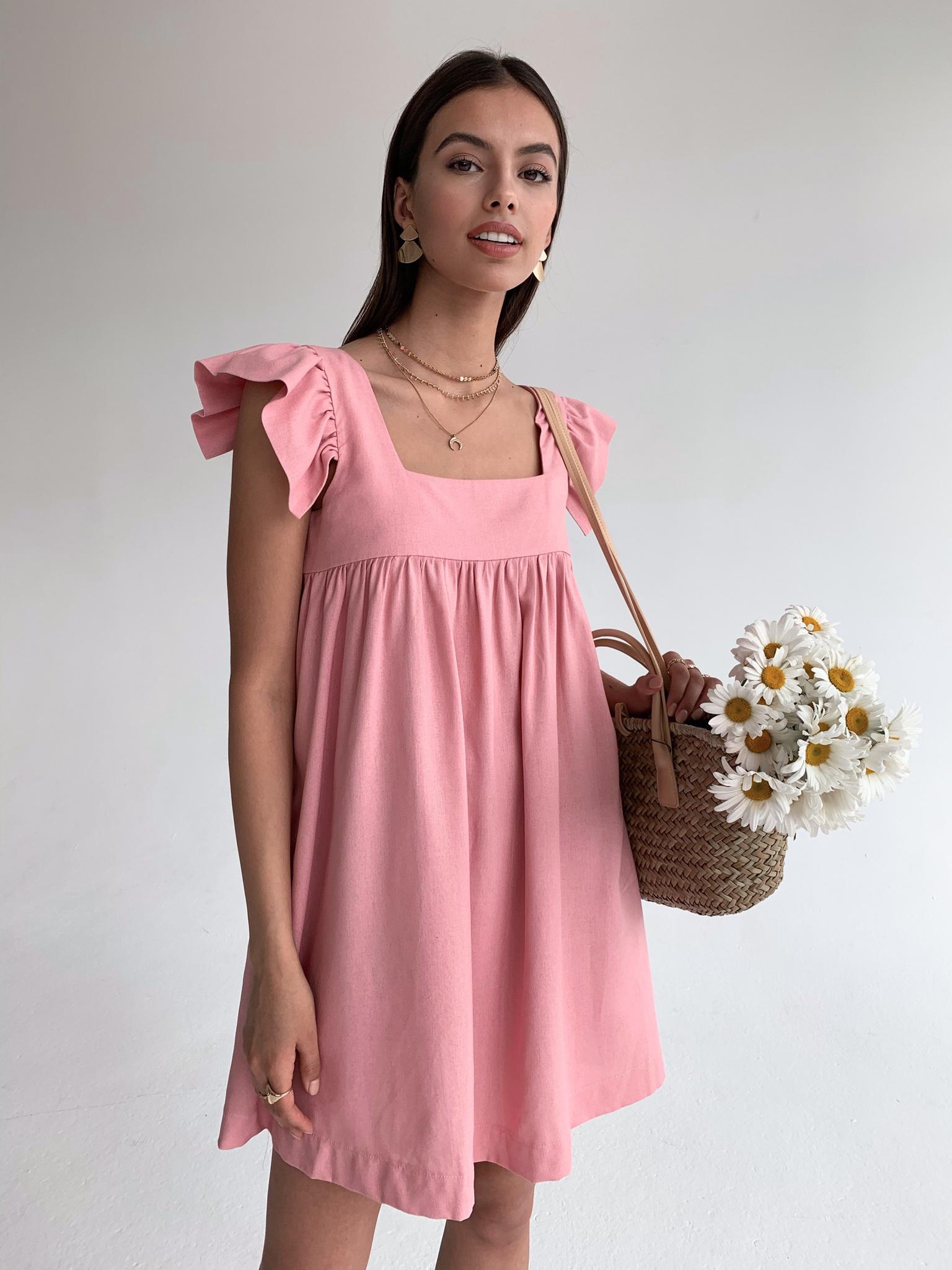 Платье льняное свободного кроя (пудровый)