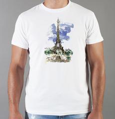 Футболка с принтом Париж, Франция, Эйфелева башня (France/ Paris) белая 0011