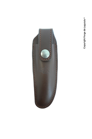 Чехол кожаный на пояс для складного ножа с лезвием 12 см. коричневого цвета., Forge de Laguiole, дизайн AUBRACA 3 C