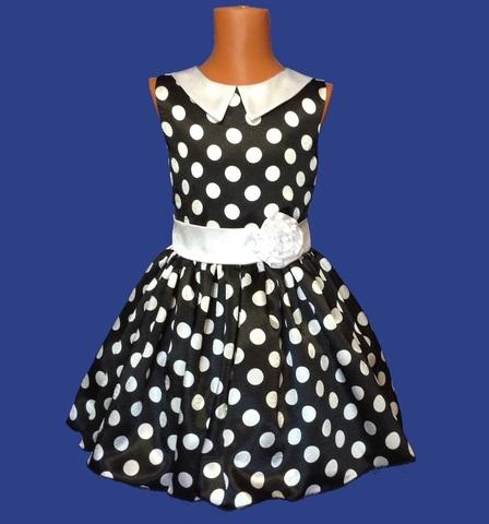 Платье черное в белый горох с воротничком