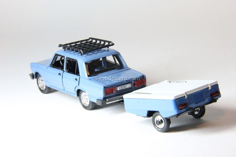 VAZ-2105 Lada with roof rack and trailer Skif pink Agat Mossar Tantal 1:43