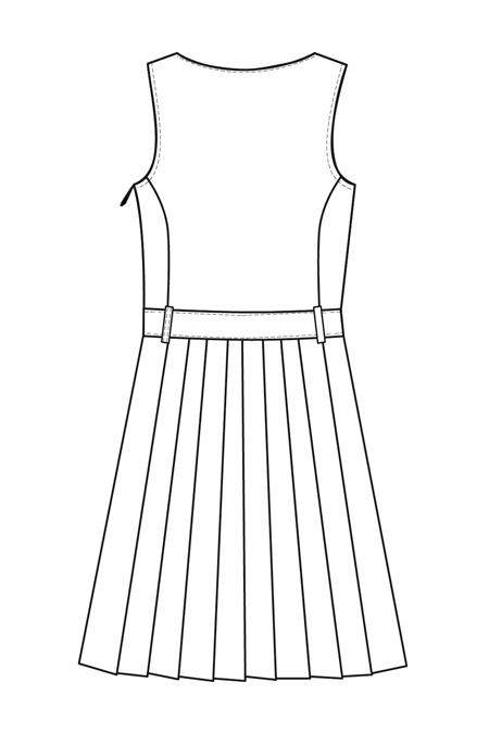 Выкройка сарафана для девочки, юбка в складку спинка