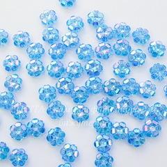 Бусина акриловая Цветочек голубой с AB покрытием 10х4 мм, 10 штук