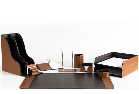 Офисный набор настольный 11 предметов, кожа натуральная, цвет табак/шоколад №69