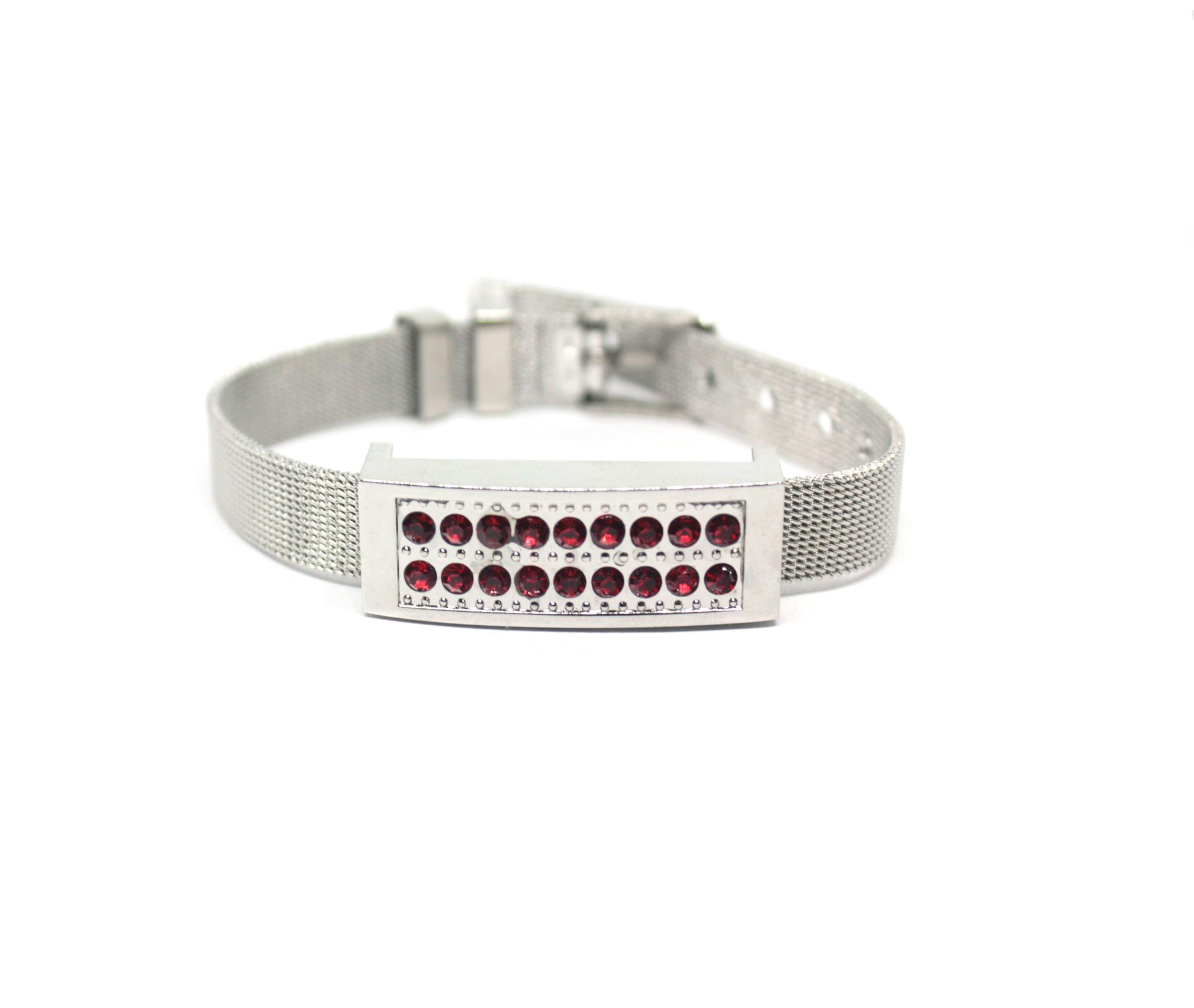 usb-флешка металлический браслет серебро с красными стразами