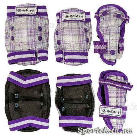 Біло-фіолетовий захист на гумках з липучками для катання дітей на велосипедах, роликах, скейтбордах Zelard (Зелард)