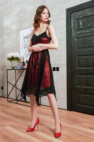 Фото платье с открытыми плечами на узких бретельках в бельевом стиле - Платье З424-444 (1)